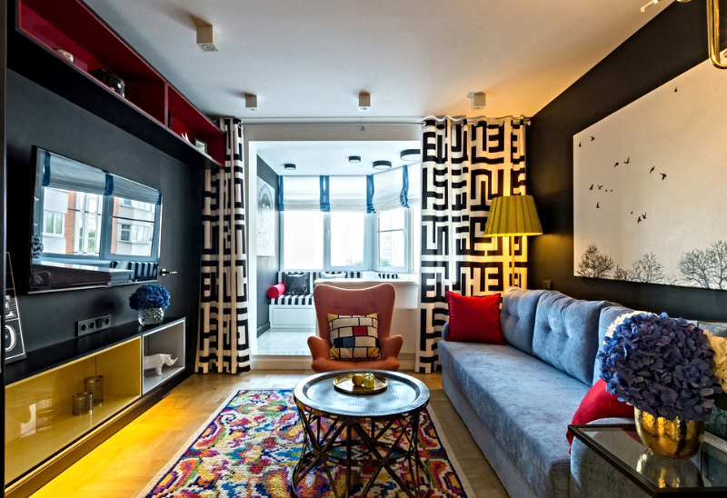 Сочетание различных фактур и рисунков в современной гостиной